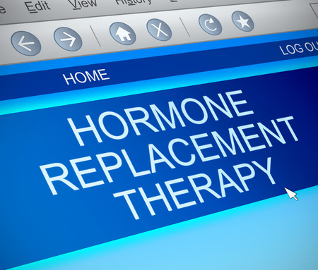 replacement: Illustration depicting a computer screen capture with a hormone replacement therapy concept.
