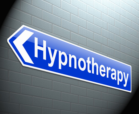 Illustration depicting a sign with a hypnotherapy concept. Stock Photo
