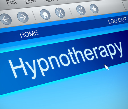 hypnotherapy: Illustration depicting a computer screen capture with a hypnotherapy concept. Stock Photo