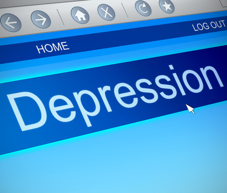 Illustration depicting a computer screen capture with a depression concept.