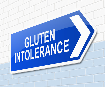 intolerancia: Ilustraci�n que muestra una se�al con un concepto de la intolerancia al gluten.