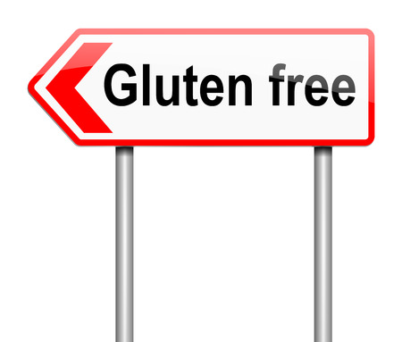 sensitivity: Illustration depicting a sign with a gluten free concept.