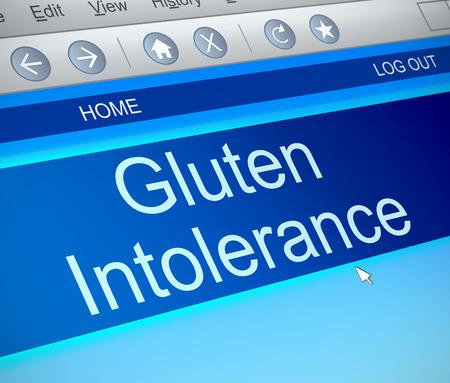 intolerancia: Ilustraci�n que muestra una captura de pantalla de la computadora con un concepto de la intolerancia al gluten.