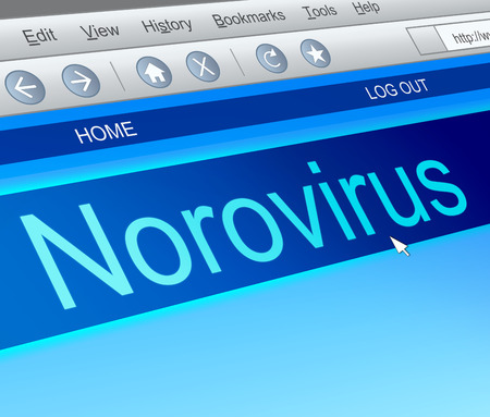 Illustration depicting a computer screen capture with a norovirus concept. illustration