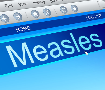 rash: Illustration depicting a computer screen capture with a measles concept.