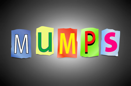 mumps: Illustration depicting a set of cut out printed letters arranged to form the word mumps.