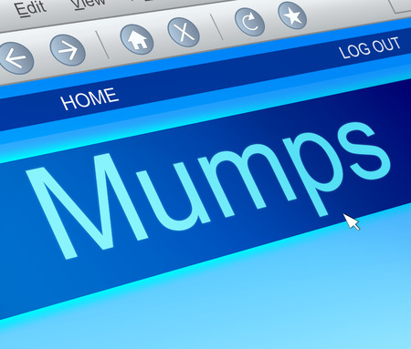mumps: Illustration depicting a computer screen capture with a mumps concept.
