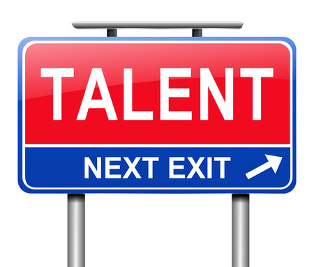 skillful: Illustration depicting a sign with a talent concept. Stock Photo