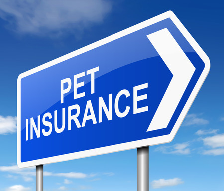 insurance claim: Illustration depicting a sign with a pet insurance concept.