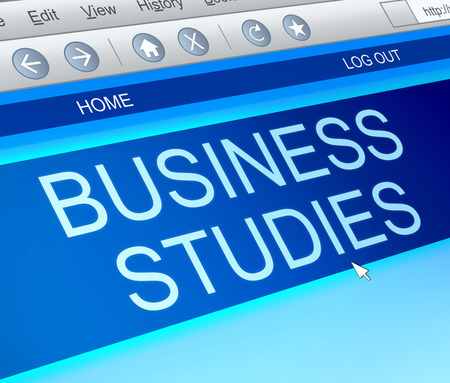 lessons: Illustration depicting a computer screen capture with a Business studies concept. Stock Photo