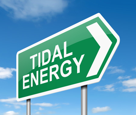 Illustration depicting a sign with a tidal energy concept.