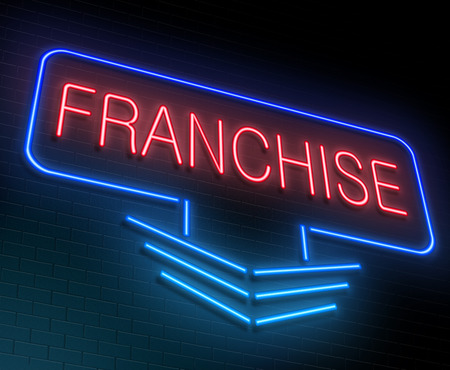 franchise: Illustration depicting an illuminated neon sign with a Franchise concept.
