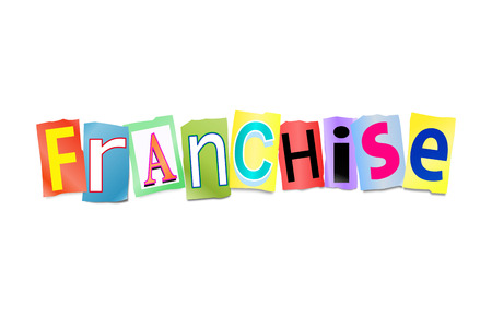 franchise: Illustration depicting a set of cut out printed letters arranged to form the word franchise.