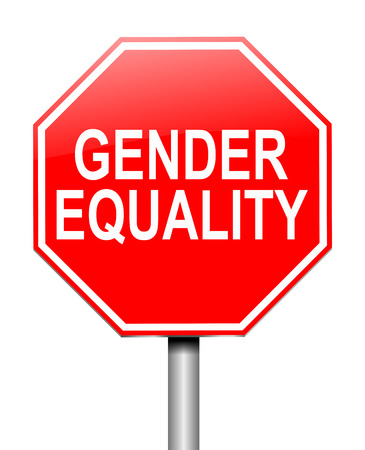 sex discrimination: Illustration depicting a sign with a gender equality concept. Stock Photo