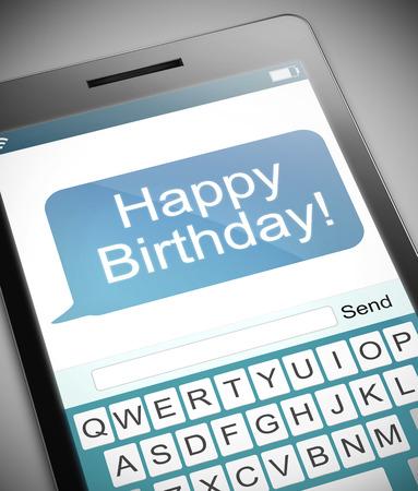 イラストを描いた誕生日概念との電話。