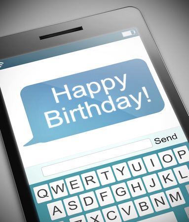 happy birthday text: Illustration depicting a phone with a happy birthday concept. Stock Photo