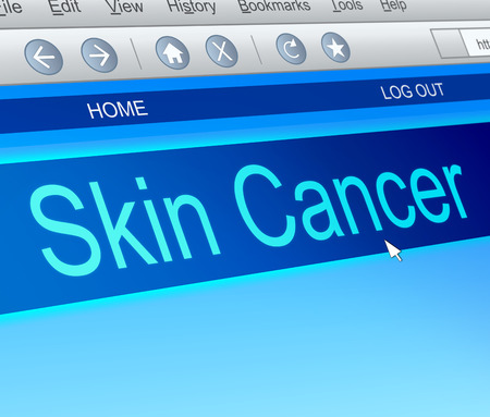 skin cancer: Illustration depicting a computer screen capture with a skin cancer concept.