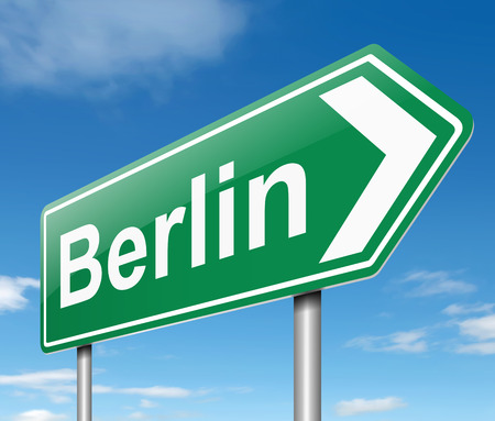 directing: Illustration depicting a sign directing to Berlin.