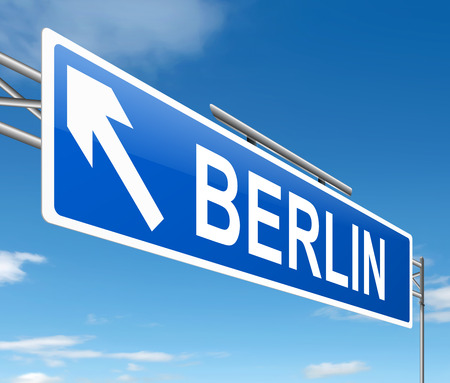 depicting: Illustration depicting a sign directing to Berlin.