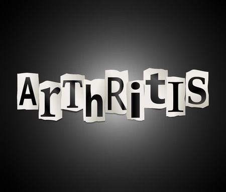 arthritis pain: Illustration depicting a set of cut out printed letters arranged to form the word Arthritis.