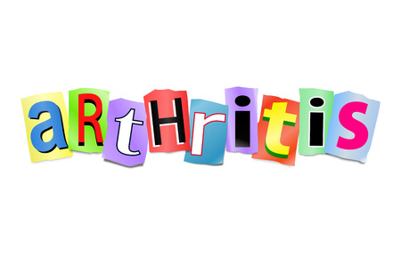 arthritic: Illustration depicting a set of cut out printed letters arranged to form the word Arthritis.