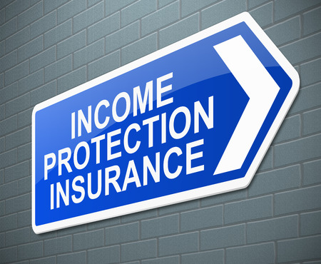 financial protection: Illustration depicting a sign with an Income protection insurance concept.