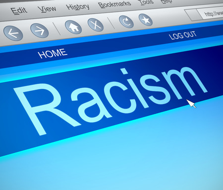 racism: Illustration depicting a computer screen capture with a racism concept.