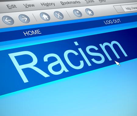racismo: Ilustración que muestra una captura de pantalla de la computadora con un concepto de racismo. Foto de archivo