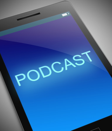 podcast: Illustration depicting a phone with a podcast concept.