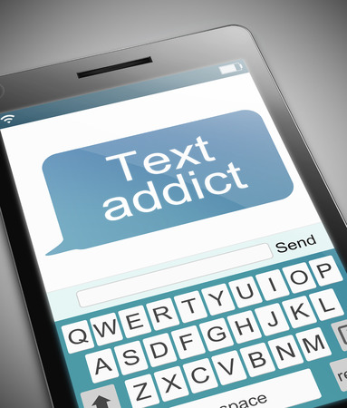 texting: Illustration depicting a phone with a text addict concept.