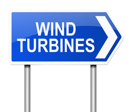 windfarm: Illustration depicting a sign with a wind turbine concept.