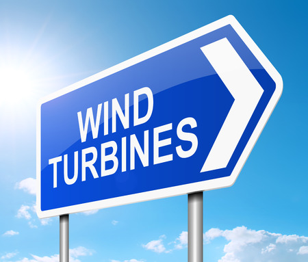 wind turbine: Illustration depicting a sign with a wind turbine concept.