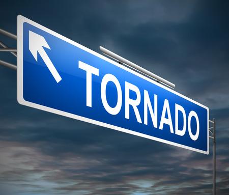 windstorm: Illustration depicting a sign with a tornado concept.