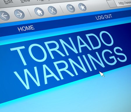 windstorm: Illustration depicting a computer screen capture with a tornado warning concept. Stock Photo