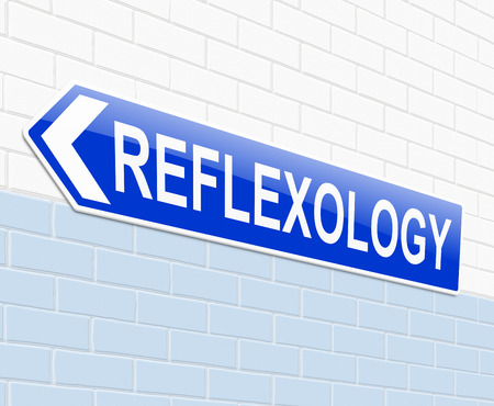 alternative therapy: Illustration depicting a sign with a reflexology concept.