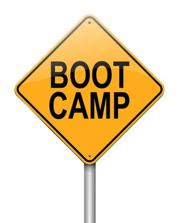 military training: Illustration depicting a sign with a boot camp concept.