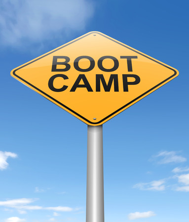 correctional: Illustration depicting a sign with a boot camp concept.