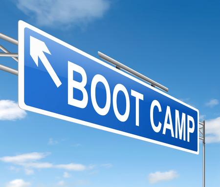 ブート キャンプの概念と記号を描いたイラスト。