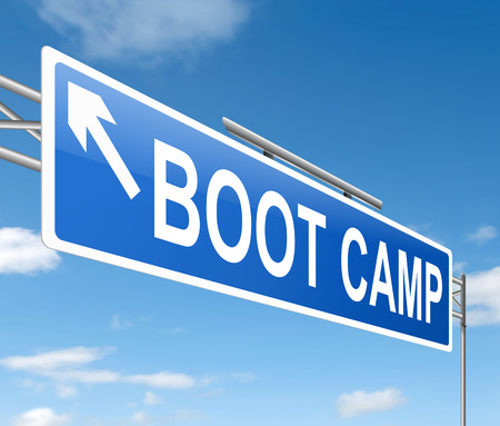 Illustration depicting a sign with a boot camp concept.