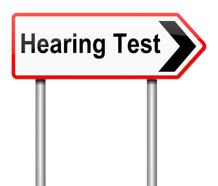 hearing: Illustration depicting a sign with a hearing test concept. Stock Photo