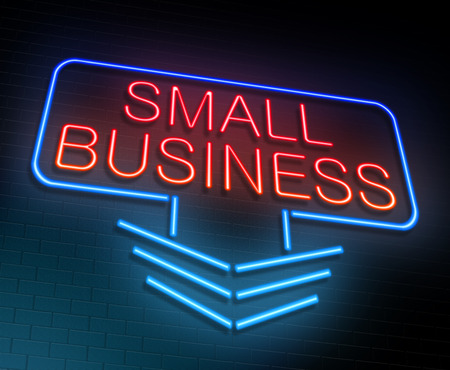 small business: Illustration depicting an illuminated neon sign with a small business concept.
