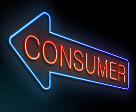 end user: Illustration depicting an illuminated neon sign with a consumer concept.