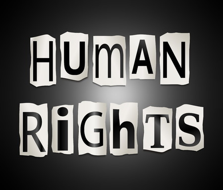 liberties: Illustration depicting a set of cut out printed letters arranged to form the words Human Rights.
