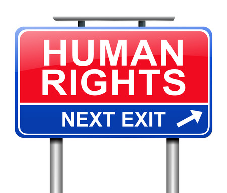 liberties: Illustration depicting a sign with a Human Rights concept.