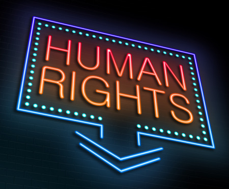 liberties: Illustration depicting an illuminated neon sign with a Human Rights concept.