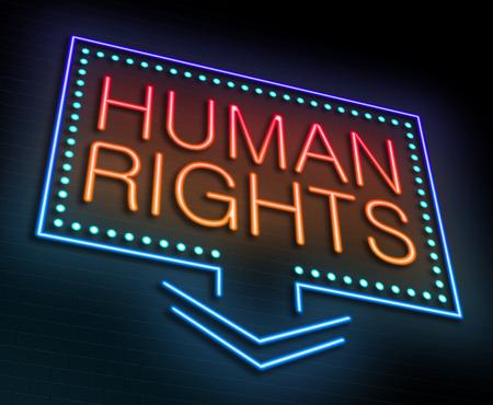 diritti umani: Illustrazione raffigurante un neon luminoso con un concetto di diritti umani.