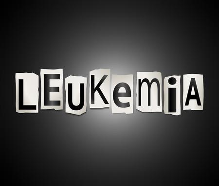 leucemia: Ilustraci�n que muestra un conjunto de recortar letras impresas dispuestos a formar la palabra leucemia.