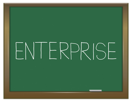 enterprising: Illustration depicting a green chalkboard with an enterprise concept. Stock Photo