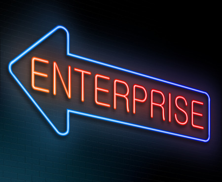 enterprise: Illustration depicting an illuminated neon sign with an enterprise concept.