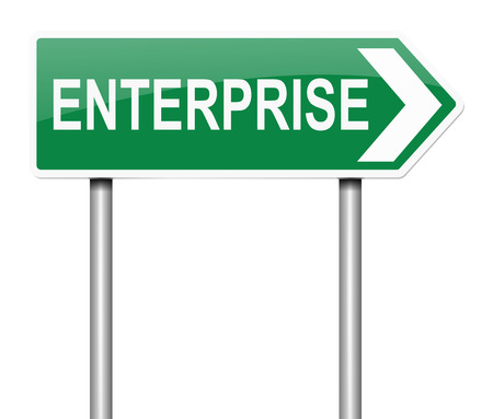 proposition: Illustration depicting a sign with an enterprise concept. Stock Photo